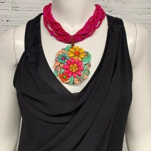 Large Beaded Rhinestone Floral Statement Necklace